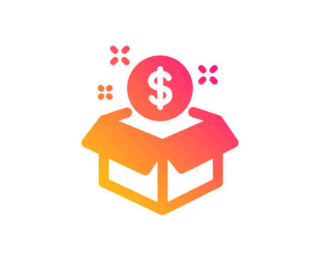 Post package icon. Paid service sign. Classic flat style. Gradient post package icon. Vector
