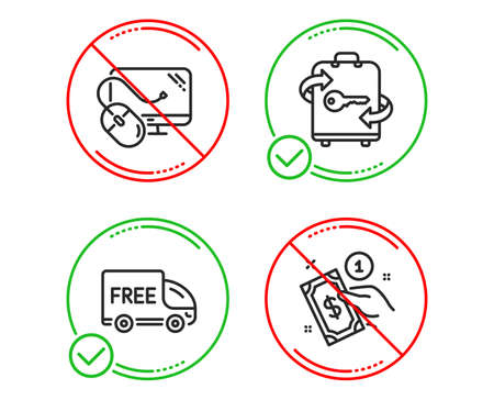 Do or Stop. Luggage, Free delivery and Computer mouse icons simple set. Payment method sign. Baggage locker, Shopping truck, Pc component. Give money. Business set. Line luggage do icon. Vector Иллюстрация