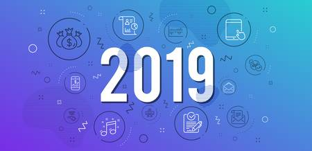 Infographic concept. Rfp, Report and Statistics icons simple set. Mail newsletter, Tablet pc and Mail signs. Column diagram, Sharing economy and Musical note symbols. 2019 year. Line rfp icon. Vector