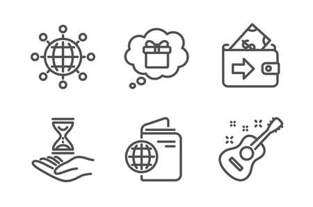 Wallet, Time hourglass and Travel passport icons simple set. International globe, Gift dream and Guitar signs. Money payment, Sand watch. Business set. Line wallet icon. Editable stroke. Vector