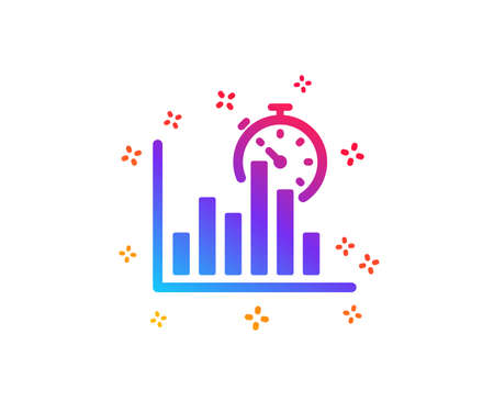Report timer icon. Column graph sign. Growth diagram chart symbol. Dynamic shapes. Gradient design report timer icon. Classic style. Vector Illustration