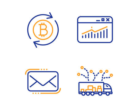 Messenger mail, Website statistics and Refresh bitcoin icons simple set. Truck delivery sign. New e-mail, Data analysis, Update cryptocurrency. Logistics. Technology set. Linear messenger mail icon Ilustracja