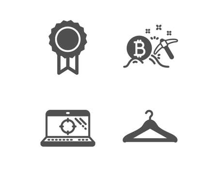 Set of Reward, Bitcoin mining and Seo laptop icons. Cloakroom sign. Best medal, Cryptocurrency pickaxe, Search engine. Hanger wardrobe.  Classic design reward icon. Flat design. Vector