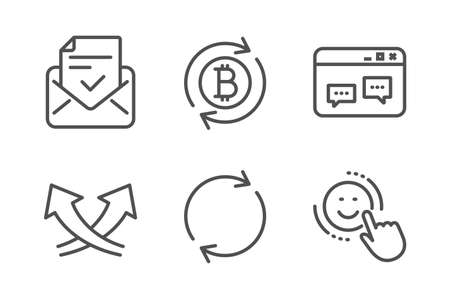 Refresh bitcoin, Approved mail and Browser window icons simple set. Full rotation, Intersection arrows and Smile signs. Update cryptocurrency, Confirmed document. Technology set. Vector Illustration