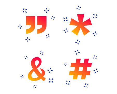 Citation, icônes de note de bas de page astérisque. Hashtag médias sociaux et symboles esperluette. Opérateur logique de programmation ET signe. Formes dynamiques aléatoires. Icône de citation de dégradé. Vecteur