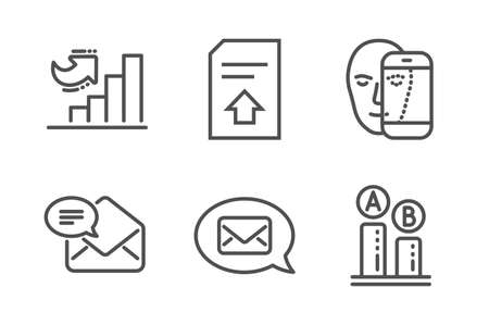 New mail, Messenger and Growth chart icons simple set. Upload file, Face biometrics and Ab testing signs. Received e-mail, New message. Technology set. Line new mail icon. Editable stroke. Vector Banque d'images - 124283232