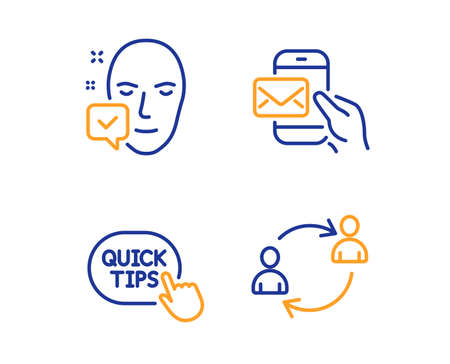 Face accepted, Quick tips and Messenger mail icons simple set. User communication sign. Access granted, Helpful tricks, New e-mail. Human resources. People set. Linear face accepted icon. Vector Banque d'images - 119630367