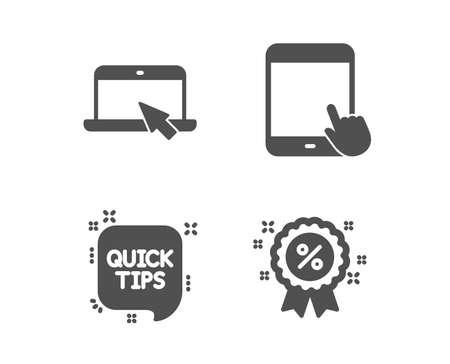 Set of Quick tips, Portable computer and Tablet pc icons. Discount sign. Helpful tricks, Notebook device, Touchscreen gadget. Sale shopping.  Classic design quick tips icon. Flat design. Vector Stock Illustratie