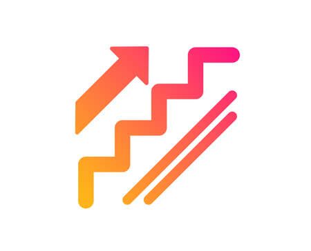 Stairs icon. Shopping stairway sign. Entrance or Exit symbol. Classic flat style. Gradient stairs icon. Vector