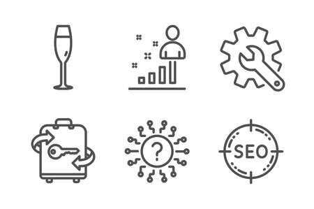 Stats, Champagne glass and Customisation icons simple set. Question mark, Luggage and Seo signs. Business analysis, Winery. Line stats icon. Editable stroke. Vector