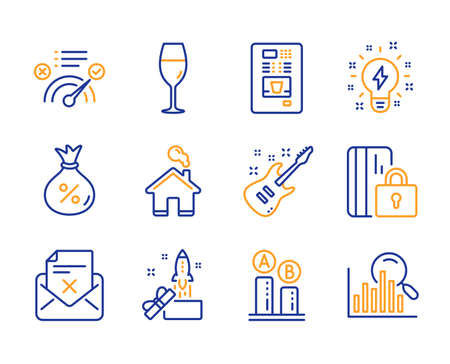 Inspiration, Loan and Wineglass icons simple set. Innovation, Coffee vending and Electric guitar signs. Ab testing, Blocked card and Home symbols. Reject letter, Correct answer and Search. Vector