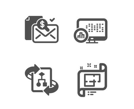 Set of Technical algorithm, Accounting report and Report statistics icons. Architectural plan sign. Project doc, Check finance, Graph chart. Technical project. Classic design technical algorithm icon