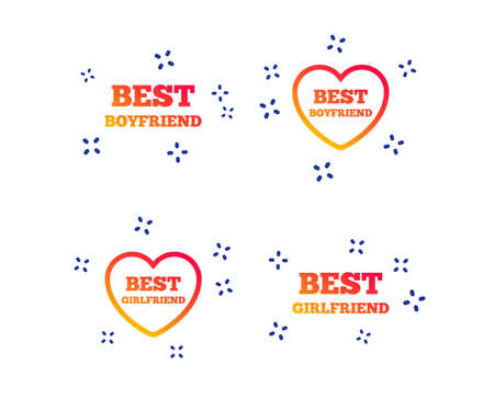 Best boyfriend and girlfriend icons. Heart love signs. Award symbol. Random dynamic shapes. Gradient boyfriend icon. Vector