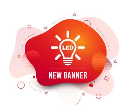 Fluid badge. Led light lamp icon. Energy symbol. Abstract shape. Gradient led icon. Flyer liquid banner. Vector