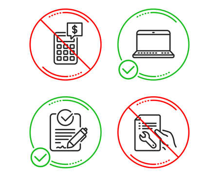 Do or Stop. Rfp, Notebook and Calculator icons simple set. Repair document sign. Request for proposal, Laptop computer, Money management. Spanner tool. Business set. Line rfp do icon. Vector 일러스트