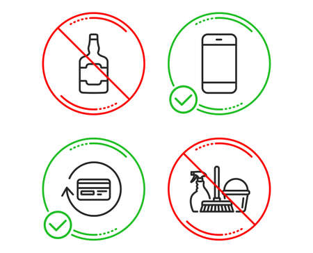 Do or Stop. Smartphone, Refund commission and Whiskey bottle icons simple set. Household service sign. Cellphone or phone, Cashback card, Scotch alcohol. Cleaning equipment. Line smartphone do icon 일러스트