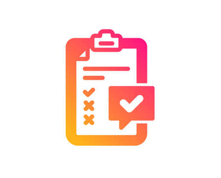 Checklist icon. Survey report sign. Business review symbol. Classic flat style. Gradient checklist icon. Vector