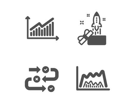 Set of Innovation, Survey progress and Graph icons. Trade chart sign. Crowdfunding, Algorithm, Presentation diagram. Market data.  Classic design innovation icon. Flat design. Vector