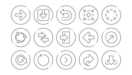 Arrow icons. Download, Synchronize and Share. Navigation linear icon set. Line buttons with icon. Editable stroke. Vector