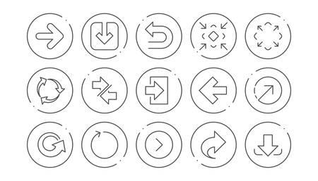 Icônes de flèche. Téléchargez, synchronisez et partagez. Jeu d'icônes linéaire de navigation. Boutons de ligne avec icône. Trait modifiable. Vecteur Vecteurs