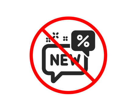 No or Stop. New discount icon. Sale shopping sign. Clearance symbol. Prohibited ban stop symbol. No new icon. Vector Stock Vector - 124283272