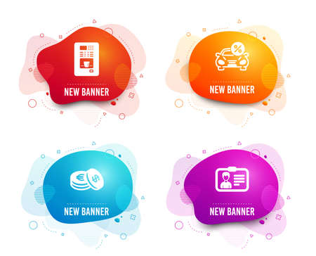Liquid badges. Set of Savings, Coffee vending and Car leasing icons. Identification card sign. Cash coins, Coffee vending machine, Transport discount. Person document.  Gradient savings icon. Vector Illustration
