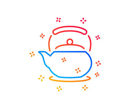 Teapot line icon. Hot drink sign. Fresh beverage in kettle symbol. Gradient design elements. Linear teapot icon. Random shapes. Vector  イラスト・ベクター素材