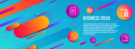 Header banner. Delete user, Document and Shopping bags icons simple set. Education, Edit person and Mobile devices signs. Remove profile, Information file. Business set. Line delete user icon. Vector