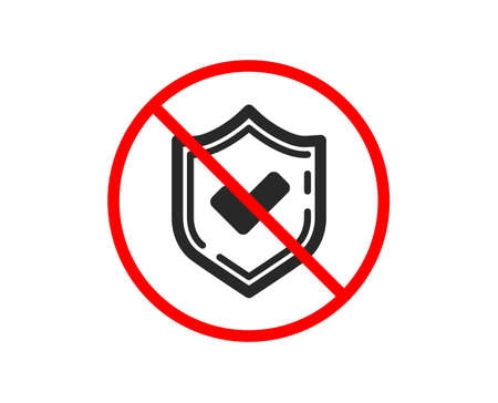 No or Stop. Check mark icon. Accepted or Approve sign. Tick shield symbol. Prohibited ban stop symbol. No confirmed icon. Vector
