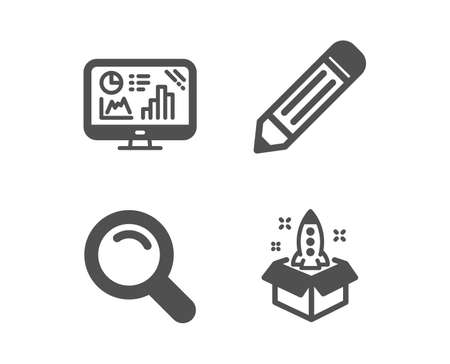 Set of Pencil, Analytics graph and Search icons. Startup sign. Edit data, Growth report, Magnifying glass. Innovation.  Classic design pencil icon. Flat design. Vector
