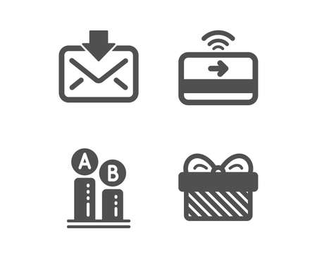 Set of Ab testing, Contactless payment and Incoming mail icons. Gift sign. Test chart, Financial payment, Download message. Present.  Classic design ab testing icon. Flat design. Vector Illustration