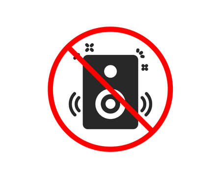 No or Stop. Speakers icon. Music sound sign. Musical device symbol. Prohibited ban stop symbol. No speakers icon. Vector Illustration