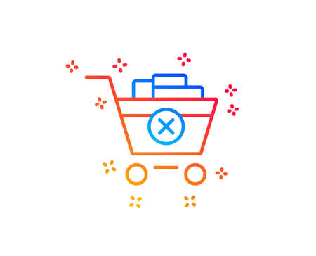 Remove Shopping cart line icon. Online buying sign. Supermarket basket symbol. Gradient design elements. Linear remove purchase icon. Random shapes. Vector