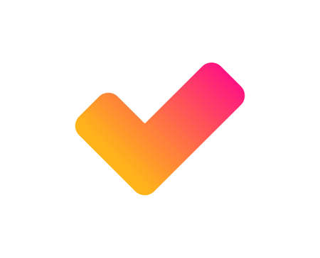 Check icon. Approved Tick sign. Confirm, Done or Accept symbol. Classic flat style. Gradient tick icon. Vector