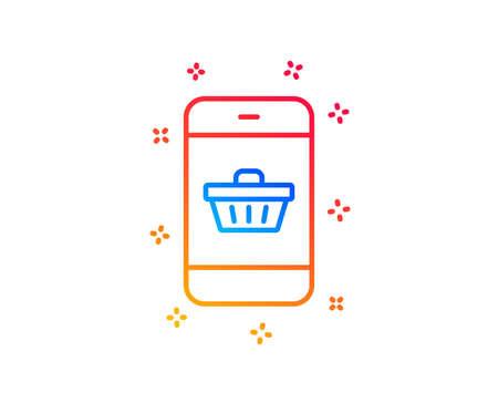 Mobile Shopping cart line icon. Smartphone Online buying sign. Supermarket basket symbol. Gradient design elements. Linear smartphone buying icon. Random shapes. Vector