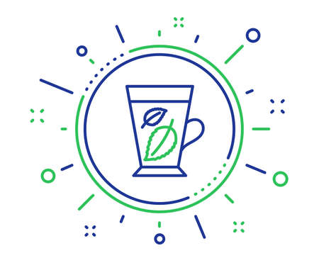 Mint Tea line icon. Fresh herbal beverage sign. Mentha leaves symbol. Quality design elements. Technology mint leaves button. Editable stroke. Vector