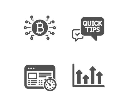 Set of Bitcoin system, Web timer and Quick tips icons. Upper arrows sign. Cryptocurrency scheme, Online test, Helpful tricks. Growth infochart.  Classic design bitcoin system icon. Flat design. Vector Ilustracja