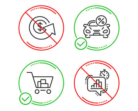 Do or Stop. Car leasing, Internet shopping and Dollar exchange icons simple set. Statistics timer sign. Transport discount, Cart with purchases, Money refund. Growth chart. Finance set. Vector