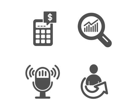 Set of Microphone, Calculator and Data analysis icons. Share sign. Mic, Money management, Magnifying glass. Referral person.  Classic design microphone icon. Flat design. Vector Standard-Bild - 119631404