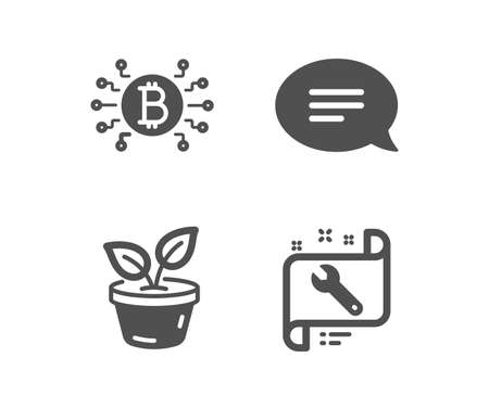 Set of Chat, Bitcoin system and Leaves icons. Spanner sign. Speech bubble, Cryptocurrency scheme, Grow plant. Repair service.  Classic design chat icon. Flat design. Vector