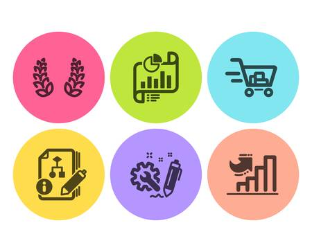 Report document, Shopping cart and Laurel wreath icons simple set. Algorithm, Engineering and Growth chart signs. Growth chart, Online buying. Flat report document icon. Circle button. Vector Illustration