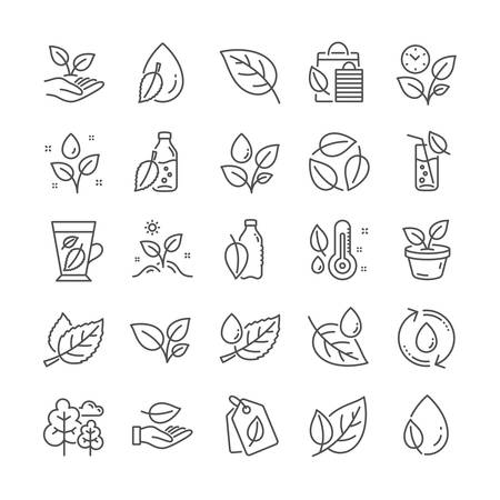 Plants line icons. Mint leaf, Humidity thermometer and Growing plants icons. Bottle with mint water, Nature care, leaf on hand. Gardening new flower, environment, water drop and thermometer. Vector