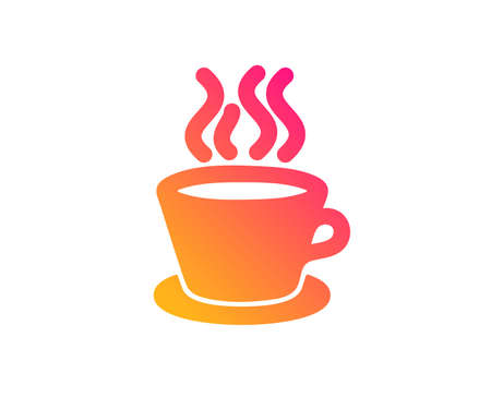 Tea or Coffee icon. Hot drink sign. Fresh beverage symbol. Classic flat style. Gradient tea cup icon. Vector