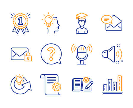 Condividi l'idea, la documentazione tecnica e l'insieme semplice delle icone del suono forte. Studente, posta sicura e segni del microfono. Simboli di documentazione idea, punto interrogativo e ingegneria. Icona di idea di condivisione di linea. Vettore