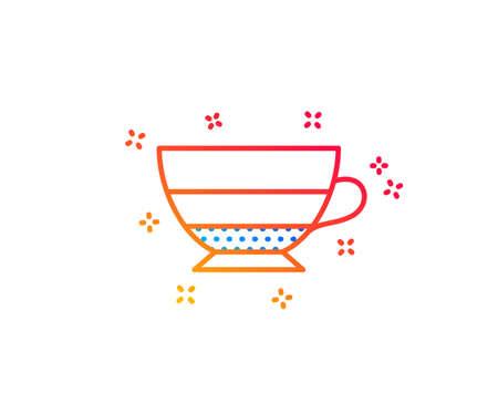 Americano coffee icon. Hot drink sign. Beverage symbol. Gradient design elements. Linear americano icon. Random shapes. Vector