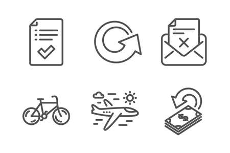 Approved checklist, Reject letter and Airplane travel icons simple set. Bicycle, Reload and Cashback signs. Accepted message, Delete mail. Business set. Line approved checklist icon. Editable stroke