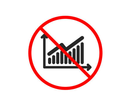 No or Stop. Chart icon. Report graph or Sales growth sign. Analysis and Statistics data symbol. Prohibited ban stop symbol. No graph icon. Vector