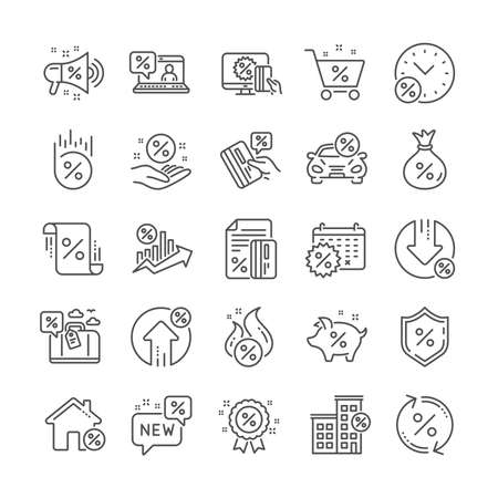 Loan line icons. Set of Interest rate, Investment and Percentage diagram linear icons. Car leasing, analytics plan, Credit card percent and loan rate. Bank mortgage, leasing, interest graph. Vector Illustration