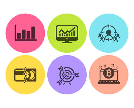 Business targeting, Statistics and Report diagram icons simple set. Payment methods, Target and Bitcoin signs. People and target aim, Financial report. Finance set. Flat business targeting icon