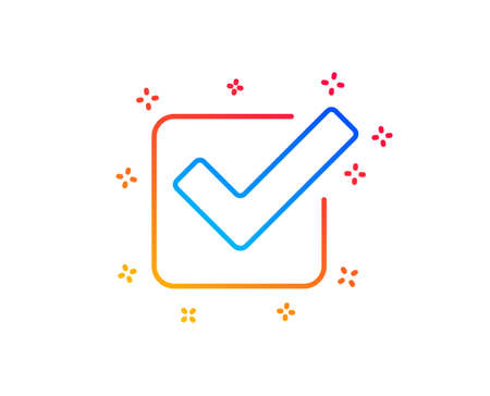 Check line icon. Approved Tick sign. Confirm, Done or Accept symbol. Gradient design elements. Linear checkbox icon. Random shapes. Vector